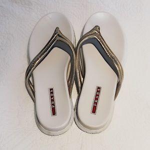 White PRADA flip flops